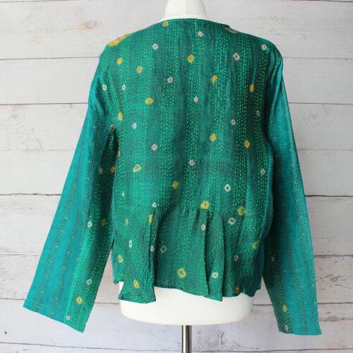 Hana Silk Kantha Hand Stitched Ladies Jacket 02