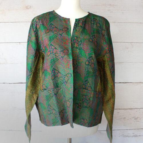 Hana Silk Kantha Hand Stitched Ladies Jacket 06