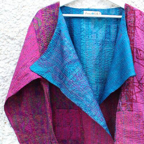 Pink & Blue Kantha Hand Stitched Silk Sari Ladies Jacket