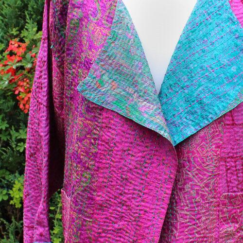 Kantha Hand Stitched Silk Sari Ladies Jacket
