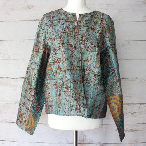 Hana Silk Kantha Hand Stitched Ladies Jacket 10