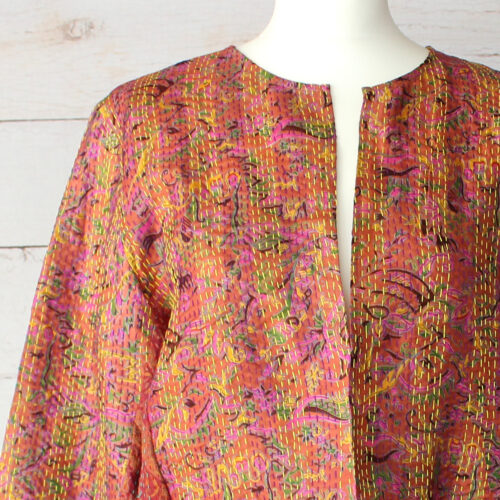 Hana Silk Kantha Hand Stitched Ladies Jacket 11