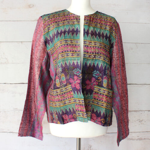 Hana Silk Kantha Hand Stitched Ladies Jacket 12