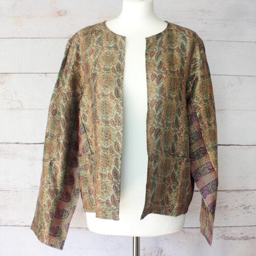Hana Silk Kantha Hand Stitched Ladies Jacket 13