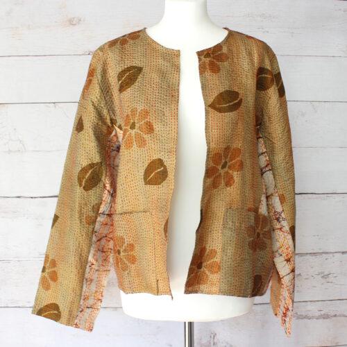 Hana Silk Kantha Hand Stitched Ladies Jacket 14