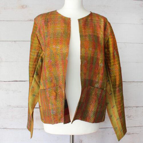 Hana Silk Kantha Hand Stitched Ladies Jacket 16