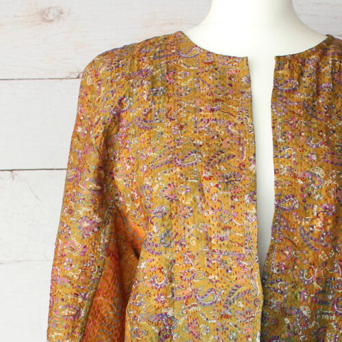 Hana Silk Kantha Hand Stitched Ladies Jacket 17