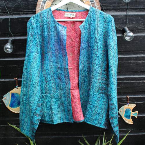 Hana Silk Kantha Hand Stitched Ladies Jacket 03