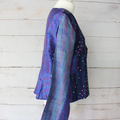 Hana Silk Kantha Hand Stitched Ladies Jacket 04