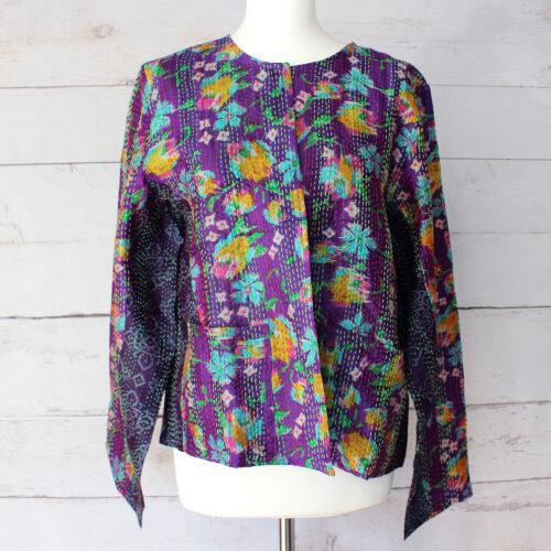 Hana Silk Kantha Hand Stitched Ladies Jacket 05