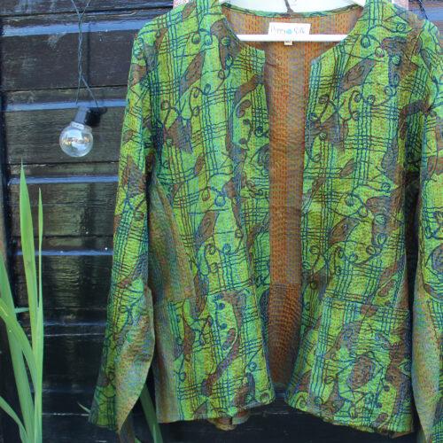Hana Silk Kantha Hand Stitched Ladies Jacket 07