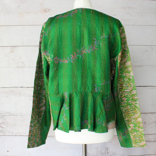 Hana Silk Kantha Hand Stitched Ladies Jacket 08