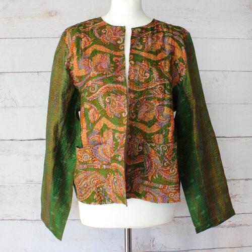 Hana Silk Kantha Hand Stitched Ladies Jacket 09