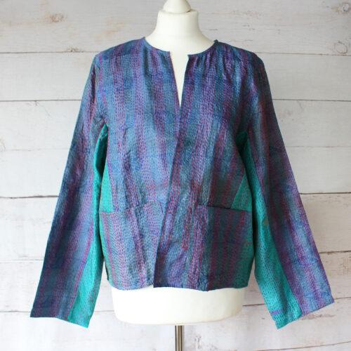 Hana Silk Kantha Hand Stitched Ladies Jacket 25