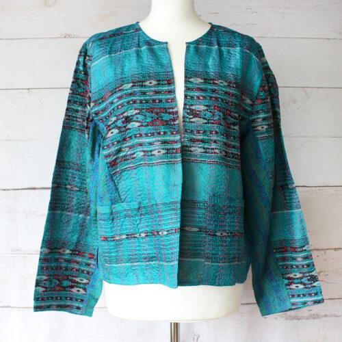 Hana Silk Kantha Hand Stitched Ladies Jacket 26