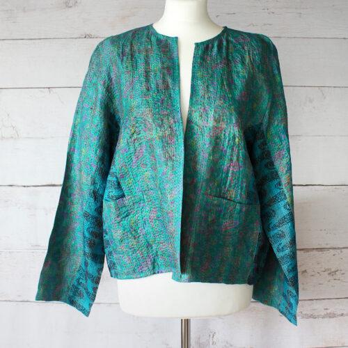 Hana Silk Kantha Hand Stitched Ladies Jacket 27