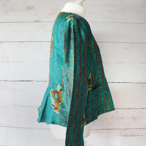 Hana Silk Kantha Hand Stitched Ladies Jacket 28