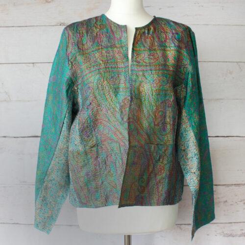 Hana Silk Kantha Hand Stitched Ladies Jacket 29