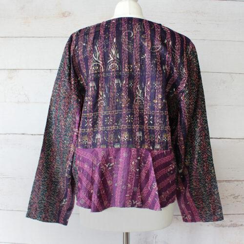 Hana Silk Kantha Hand Stitched Ladies Jacket 33