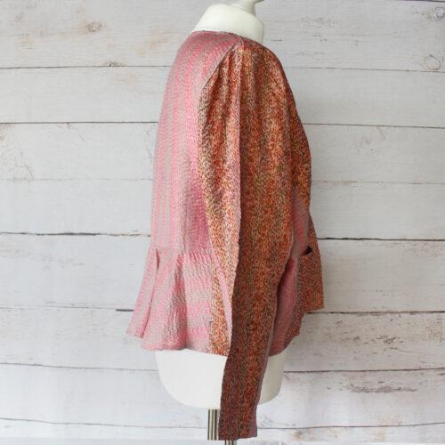 Hana Silk Kantha Hand Stitched Ladies Jacket 37
