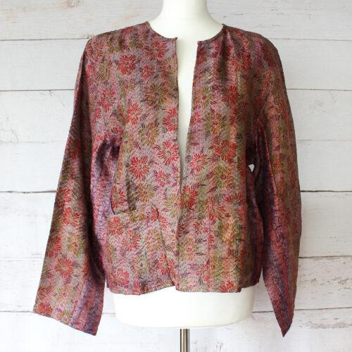 Hana Silk Kantha Hand Stitched Ladies Jacket 39