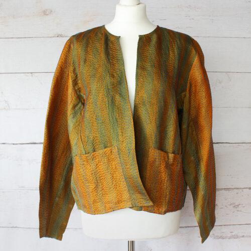 Hana Silk Kantha Hand Stitched Ladies Jacket 41