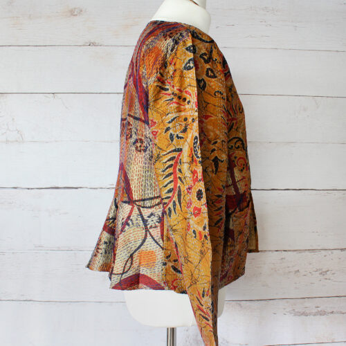 Hana Silk Kantha Hand Stitched Ladies Jacket 42