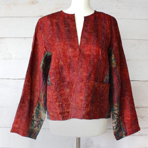 Hana Silk Kantha Hand Stitched Ladies Jacket 43