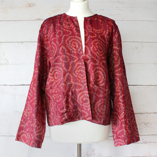 Hana Silk Kantha Hand Stitched Ladies Jacket 44