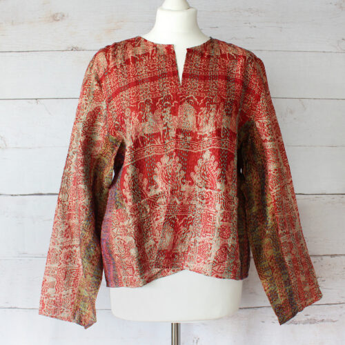 Hana Silk Kantha Hand Stitched Ladies Jacket 45